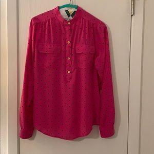 C.Wonder silk button up shirt pink polka dot
